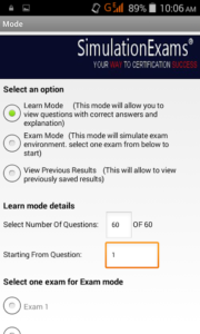 Exam mode selection
